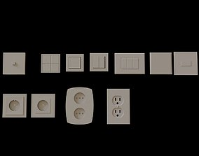 Modern Electrical switches and sockets 3D asset 3