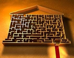 Labyrinth with house shape 3D