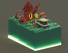Sea Monster Voxel Scene 3D asset