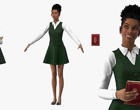 Light Skin Young Black Female Student Rigged 3D