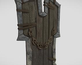 Large wood shield 3D asset