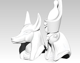 Horus Anubis pair head bust model