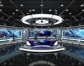 Virtual TV Studio News Set 1 3D