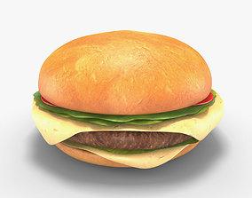 Low Poly Hamburger 3D asset