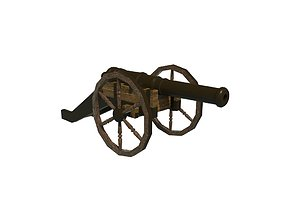 3D model low-poly cannon