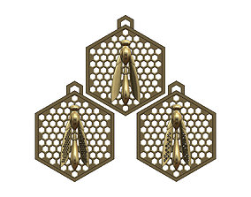 bee pendants with a honeycomb mesh 3D printable model