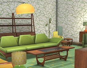 Retro - Living Room - Low Poly - Furniture Pack 3D model