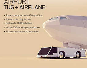 Cartoon Low Poly Tug and Airbus 3D model