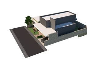 House with private poll mini 3D printable model