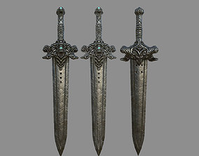 VR / AR ready Devil Sword Lowpoly 3D Model Texturing