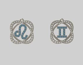 3D print model pendants zodiac lion and twins