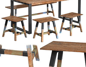 Dining Table with Chairs Look 180 3D