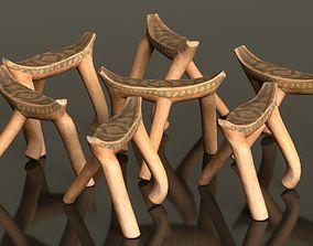 3D asset Headrest Africa Wood Furniture Prop 43