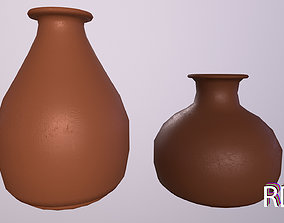 3D model clay vase amphora for interior