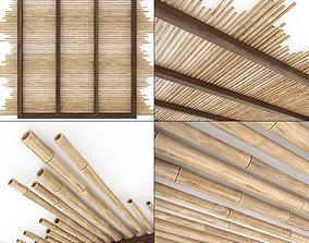Ceiling bamboo long beam n1 3D
