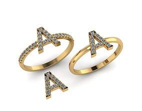 3D print model Alphabet letter ring A