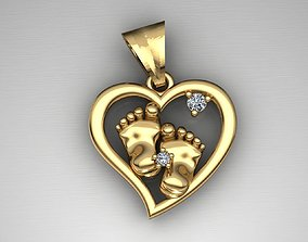 3D printable model MGold015-1p Baby Foots Pendant