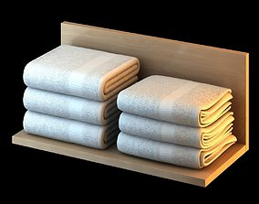 White Folded Towels 3D model