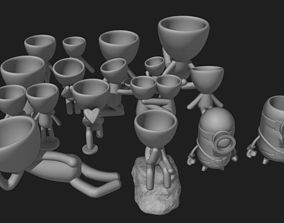 Pack with 17 potted plants and 1 minion doll stl for 3D 1
