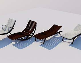 4 Wooden Deckchairs 3D model