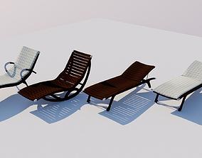 4 Wooden Deckchairs 3D model