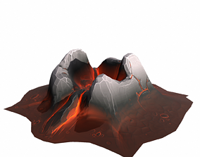 3D model low-poly Mountain stylized - PBR