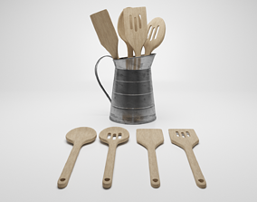 3D model Wooden Utensils inside Jug