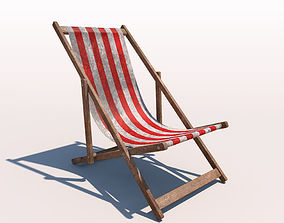 3D model Deck Chair - Red - Weathered