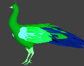 3D asset lowpoly peacock bird