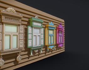 Slavic wooden antique windows tiny 3D asset