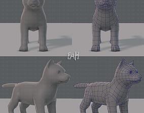 3D asset VR / AR ready Dog base for gameV02