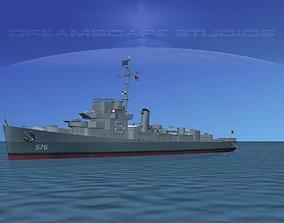 Destroyer Escort DE-576 USS Barr 3D model
