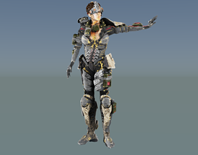 3D asset Armored Future Soldier Nazi Girl rigged Animated