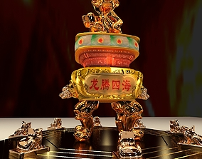 Chinese monkey with burner and yuanbao 3D model
