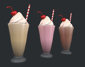 Chocolate - Vanilla - Strawberry Milkshake 3D asset