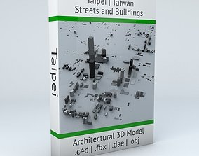 3D model Taipei City Streets and Buildings buildings