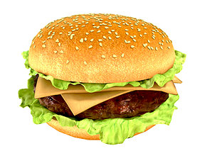 Photorealistic hamburger 3D