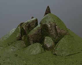 3D asset VR / AR ready plant mossy rocks