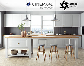 Octane Cinema 4D Scene files - French Country Kitchen 3D
