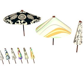 Parasol Umbrella Pack Rigged Animated Low Poly 3D asset