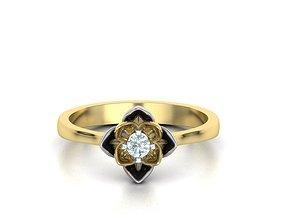 gemstone Engagement Ring Lotus 3D print model