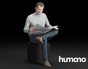 Humano Casual Man Sitting and reading newspaper 3D