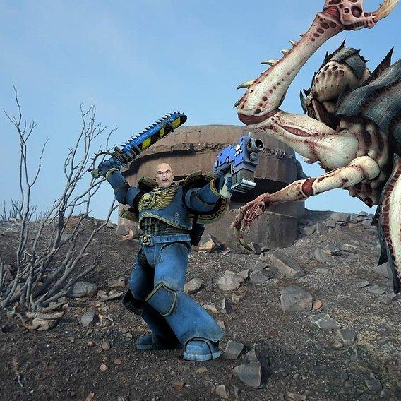 freestuff warhammer space marine for freak poser daz3d