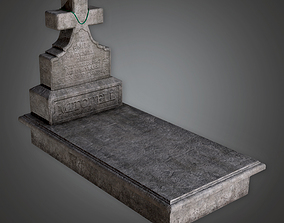 3D asset Stone Grave Cemetery 5 CEM - PBR Game Ready