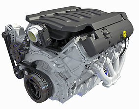 3D Lowpoly V8 Engine Low Poly