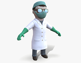 Cartoon Scientist with Electric Baton 3D asset