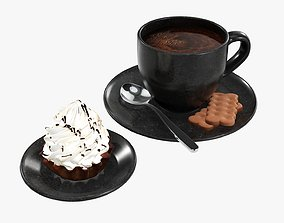 Coffee with cupcake and cookies 3D model