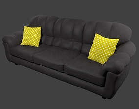 Couch and Pillows - Leather 3D asset