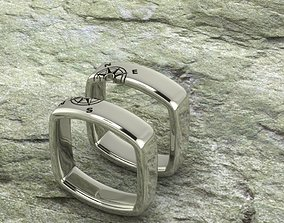 Compass ring wedding set 3D print model