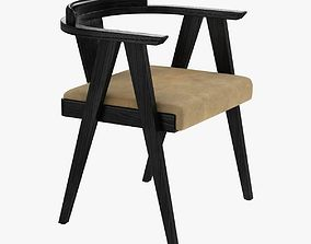 Midcentury Cerused Oak Side Desk Chair 3D